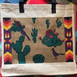 🌵Large Jute Tote With Cactus